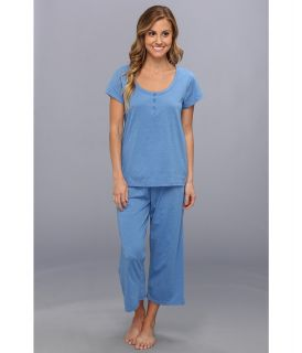 Kenneth Cole Reaction Fundamental Henley Capri Set Womens Pajama Sets (Blue)
