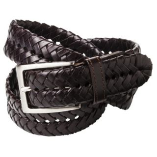 Merona Mens Braided Leather Belt   Brown   L