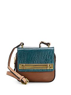 Nora Colorblock Leather Crossbody Bag   Teal