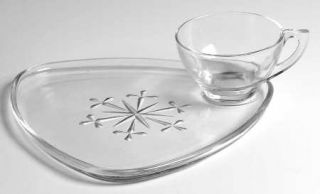 Indiana Glass Snowflake Snack Set Plate and Regular Punch Cup   Snack Sets, Snow