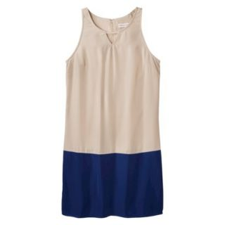 Merona Womens Colorblock Hem Shift Dress   Hamptons Beige/Waterloo Blue   XXL