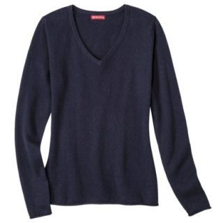 Merona Womens Cashmere Blend V Neck Pullover Sweater   Navy   M