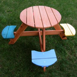 Swing Town 4 Seat Round Kids Picnic Table Multicolor   MA7605