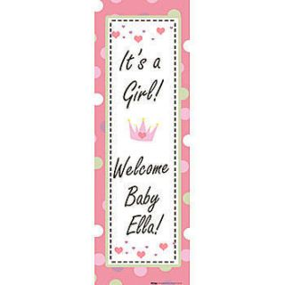 Baby Girl Personalized Vertical Vinyl Banner    104 X 36 Inches, Green, Red, White