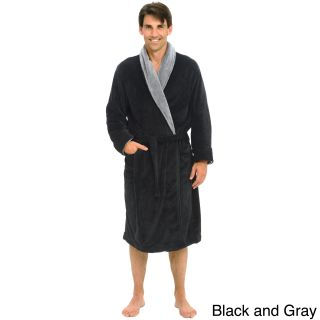 Del Rossa Mens Contrasting Shawl Collar Fleece Bath Robe