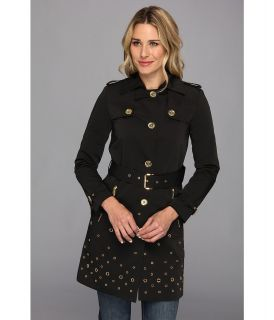 MICHAEL Michael Kors Grommet Single Breasted Trench Coat Womens Coat (Black)