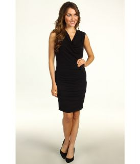 Nicole Miller Tucked Stretchy Matte Jersey Dress Womens Dress (Black)