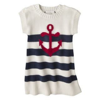 Infant Toddler Girls Striped Anchor Sweater Dress   White/Navy 5T