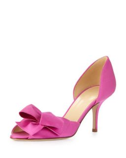 Womens sala satin dorsay bow pump, fuchsia   kate spade new york