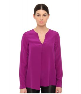 Tibi Solid Silk CDC Split Neck Long Sleeve Blouse Womens Blouse (Pink)