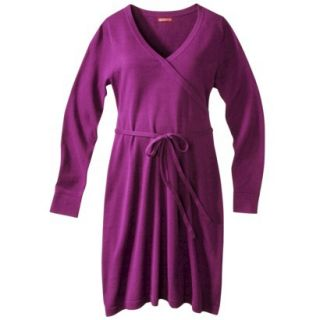 Merona Maternity Long Sleeve V Neck Sweater Dress   Purple XS