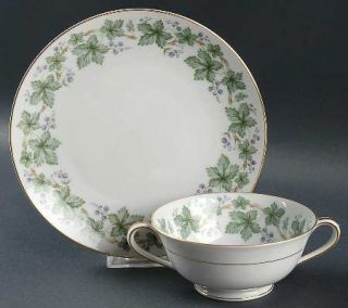 Noritake Madera (Gold Trim) Footed Cream Soup Bowl & Saucer Set, Fine China Dinn