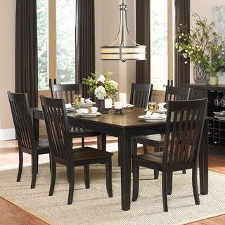 Zachary 7 piece Two tone Sand through Black/ Brown Extending Dining Set