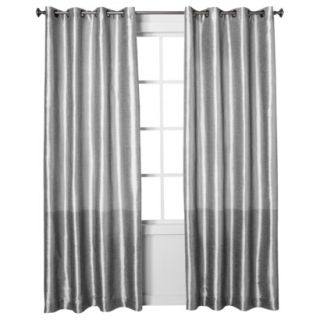 Threshold Banded Faux Silk Window Panel   Silver (54x84)