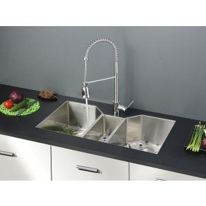 Ruvati RVC2576 Combo Stainless Steel Kitchen Sink and Chrome Faucet Set