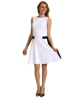 Calvin Klein Fit Flare Colorblock Sheath Dress Womens Dress (White)