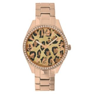Merona Animal Print Dial Watch,Rose Gold Bracelet with Stones