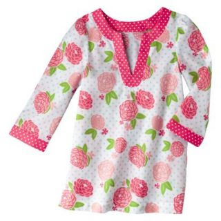 Circo Infant Toddler Girls Long Sleeve Floral Cover Up   White/Coral 12 M