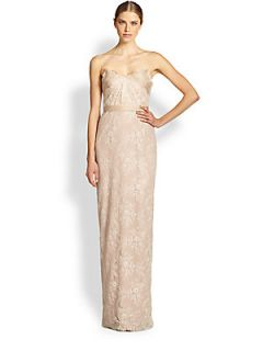 Notte by Marchesa Draped Strapless Lace Gown   Blush