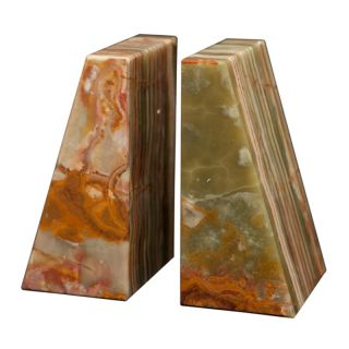 Designs By Marble Crafters Inc Zeus Bookends   Whirl Green Onyx   BE20 WG