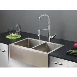 Ruvati RVC1441 Combo Stainless Steel Kitchen Sink and Chrome Faucet Set