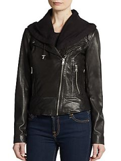 Violet Hooded Leather Jacket   Black