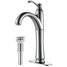 Kraus FVS1005PU10SN Bathroom Faucet, Riviera Single Lever Vessel Faucet w/ Matching Pop Up Drain Satin Nickel