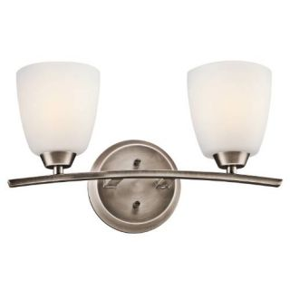 Kichler 45359BPT Bathroom Light, Transitional Bath 2Light Fixture Brushed Pewter