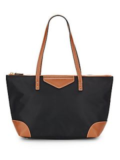 Faux Leather Trimmed Nylon Tote Bag   Black