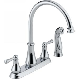 Delta Faucet 21902LF Lewiston Two Handle Kitchen Faucet with Spray