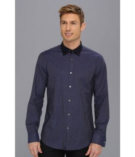 John Varvatos Collection Double Layer Collar Slim Fit Shirt Mens Long Sleeve Button Up (Navy)