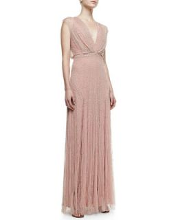 Topography Beaded Cap Sleeve Gown, Powder   Jenny Packham