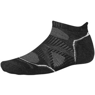 SmartWool PhD Run Light Socks   Merino Wool  Below the Ankle (For Men and Women)   BLACK/WHITE (L )