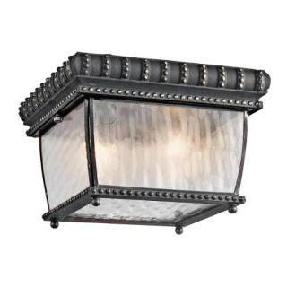 Kichler 49136BKG Outdoor Light, Classic (Formal Traditional) Flush Mount 2 Light Fixture Black with Gold