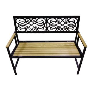 DC America Portable Folding Garden Bench   Natural Wood Tone Slats And Aluminum