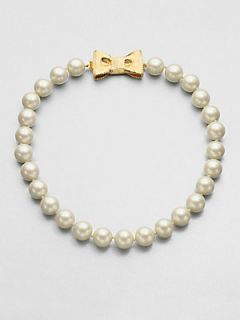 Kate Spade New York Bow Beaded Strand Necklace   Pearl Gold