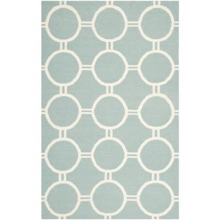Safavieh Hand woven Moroccan Dhurrie Light Blue/ Ivory Wool Indoor Rug (5 X 8)