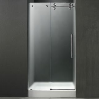Vigo Industries VG6041STMT48RWS Shower Door, 48 Frameless 3/8 Right w/White Base Center Drain Frosted/Stainless Steel