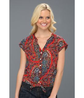 Lucky Brand Paisley Cameron Tie Front S/S Top Womens Short Sleeve Button Up (Red)