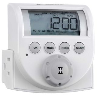 Intermatic DT620 Timer, 7Day Heavy Duty Indoor Digital PlugIn Appliance Timer, Dual Receptacles White