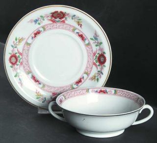 Haviland Cathay (Gold Trim) Footed Cream Soup Bowl & Saucer Set, Fine China Dinn