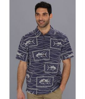 Quiksilver Waterman Paliea Point S/S Shirt Mens Short Sleeve Button Up (Blue)