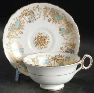 Royal Cauldon Gainsborough (White W/Blue & Gold) Footed Cup & Saucer Set, Fine C