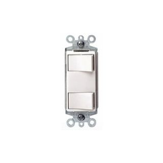 Leviton 1754W Light Switch, Decora Dual Rocker Combo Switch, Commercial Grade, SinglePole White