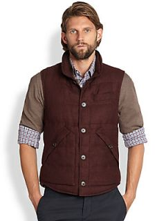 Brunello Cucinelli Linen/Wool/Silk Checked Vest   Red