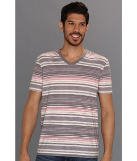 Lucky Brand Stripe V Neck Mens T Shirt (Red)