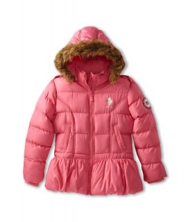 U.S. Polo Assn Kids Bubble Jacket with Faux Fur Trimmed Hood and Cinched Waist Girls Coat (Pink)