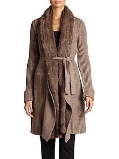 Rabbit Fur Trimmed Wool & Cashmere Cardigan   Spice