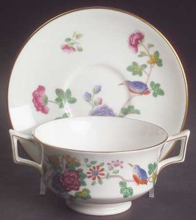 Wedgwood Cuckoo (Gold Trim) Footed Cream Soup Bowl & Saucer Set, Fine China Dinn