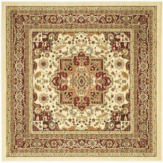 Lyndhurst Collection Traditional Ivory/red Rug (6 Square)